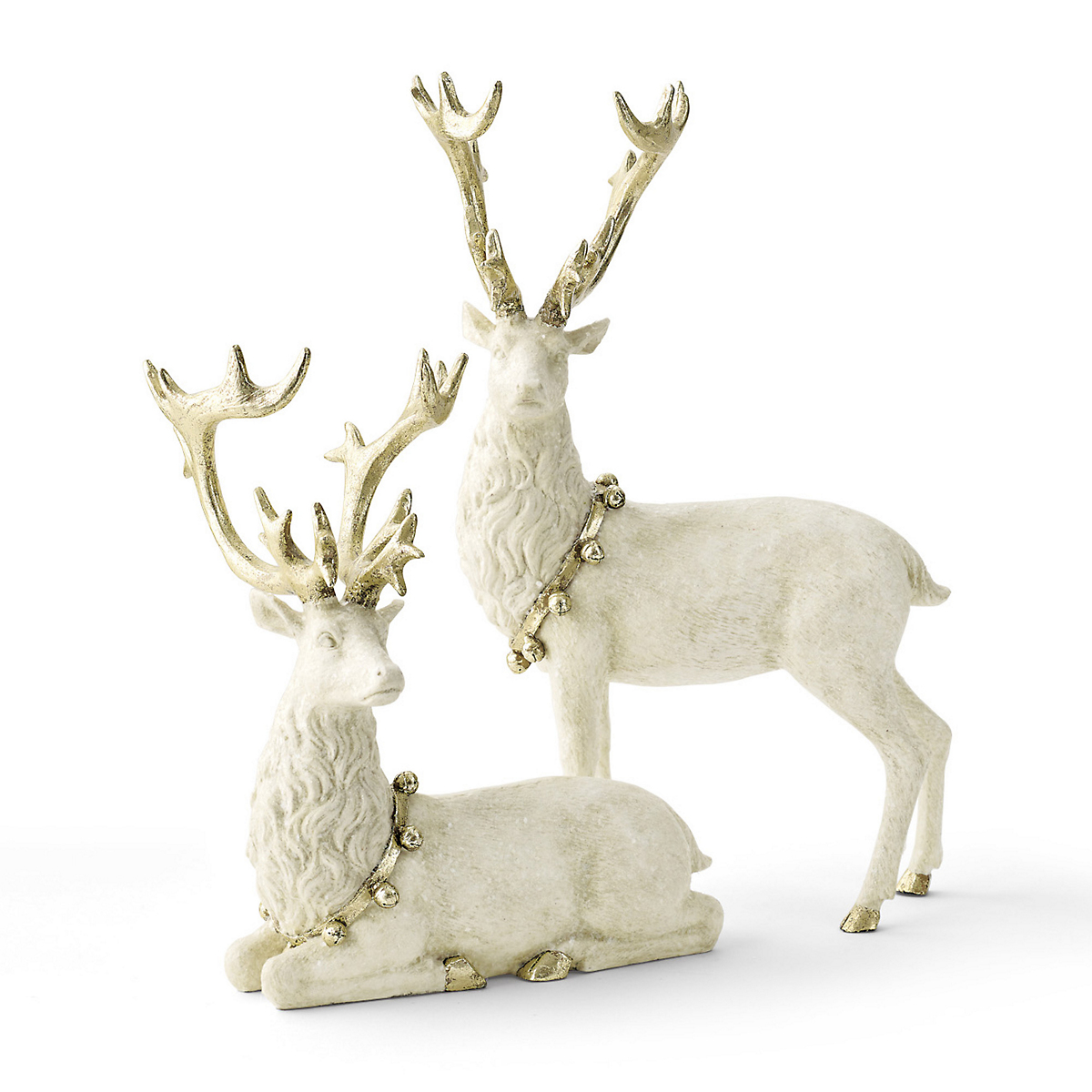 White & Gold Reindeer Figures, Set Of 2
