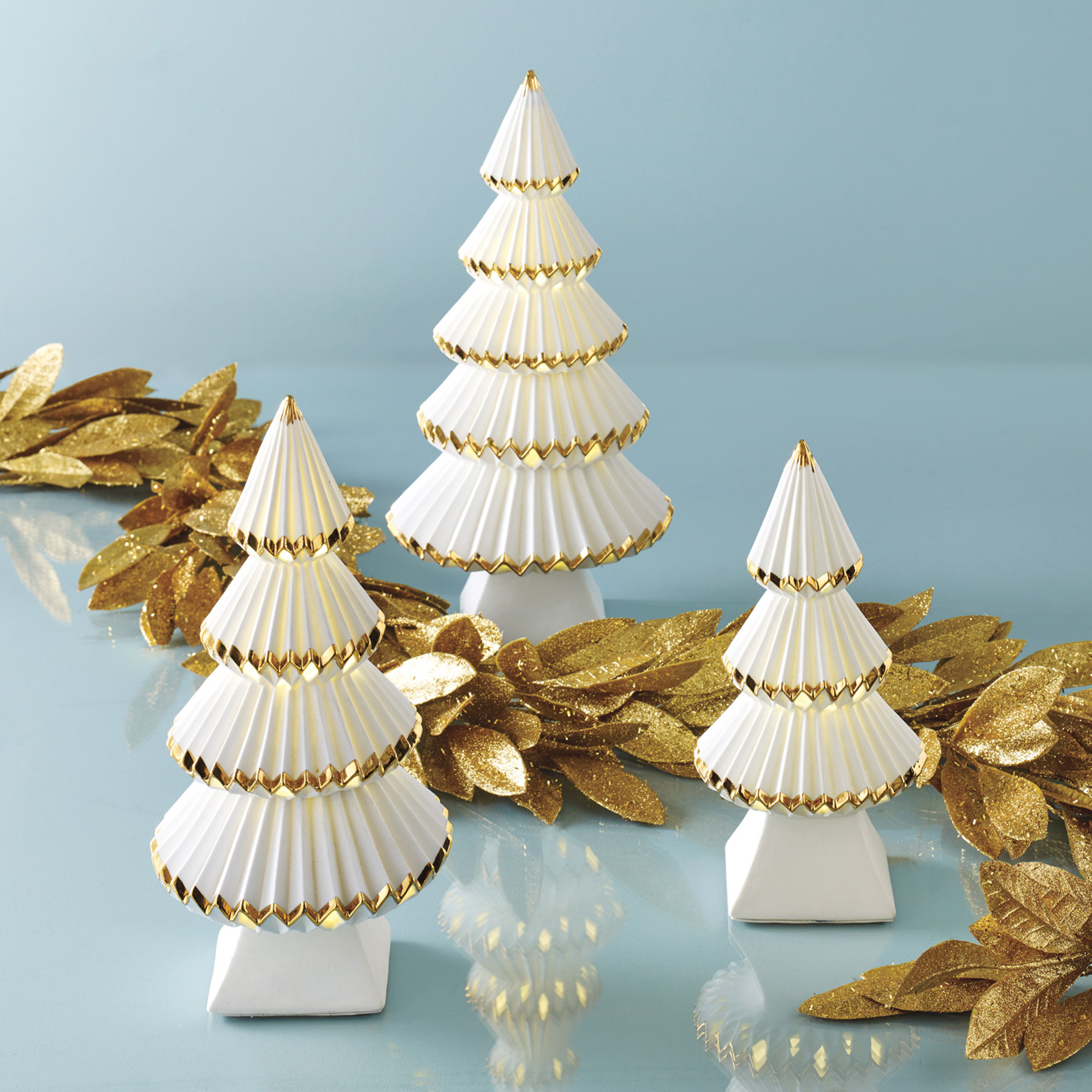 Pre-Lit Pleated Porcelain Trees