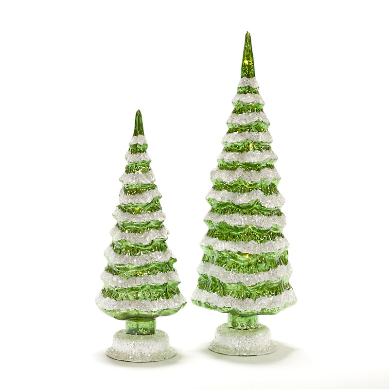 Pre-Lit Snow-Covered Glass Trees, Green