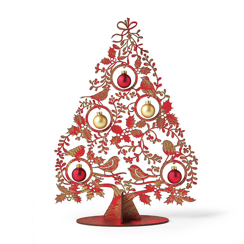 Red Tabletop Tree & Ornaments