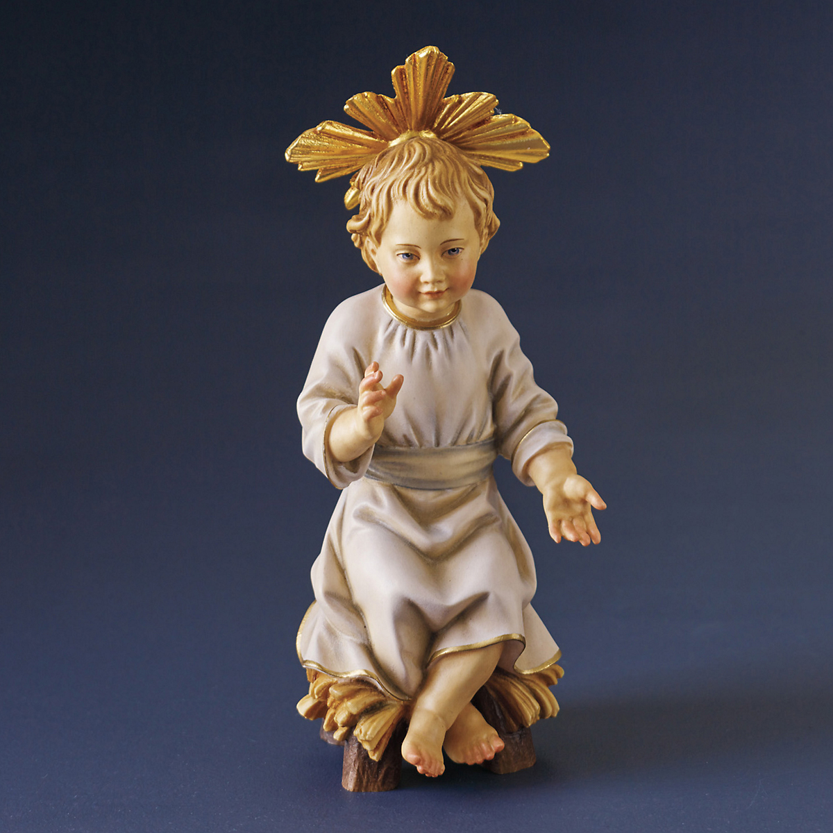 Italian Carved Wood Baby Jesus Figure