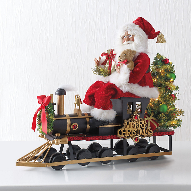 Karen Didion Lighted Santa & Train