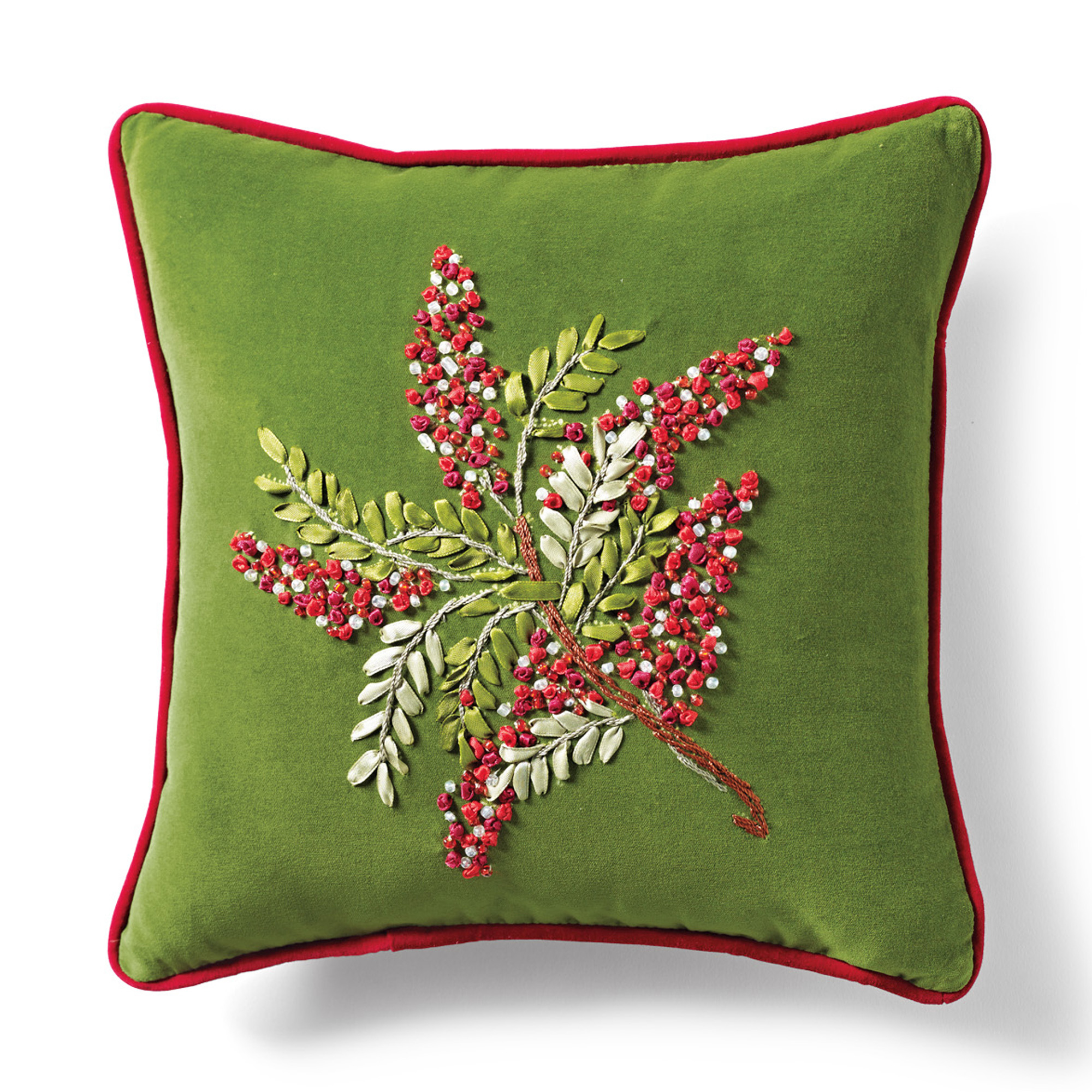 Red Berries Hand-Stitched Holiday Pillow