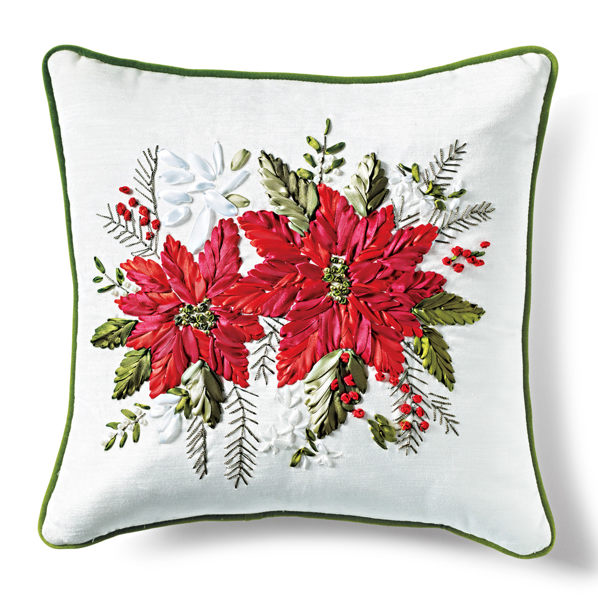 Poinsettias Hand-Stitched Holiday Pillow