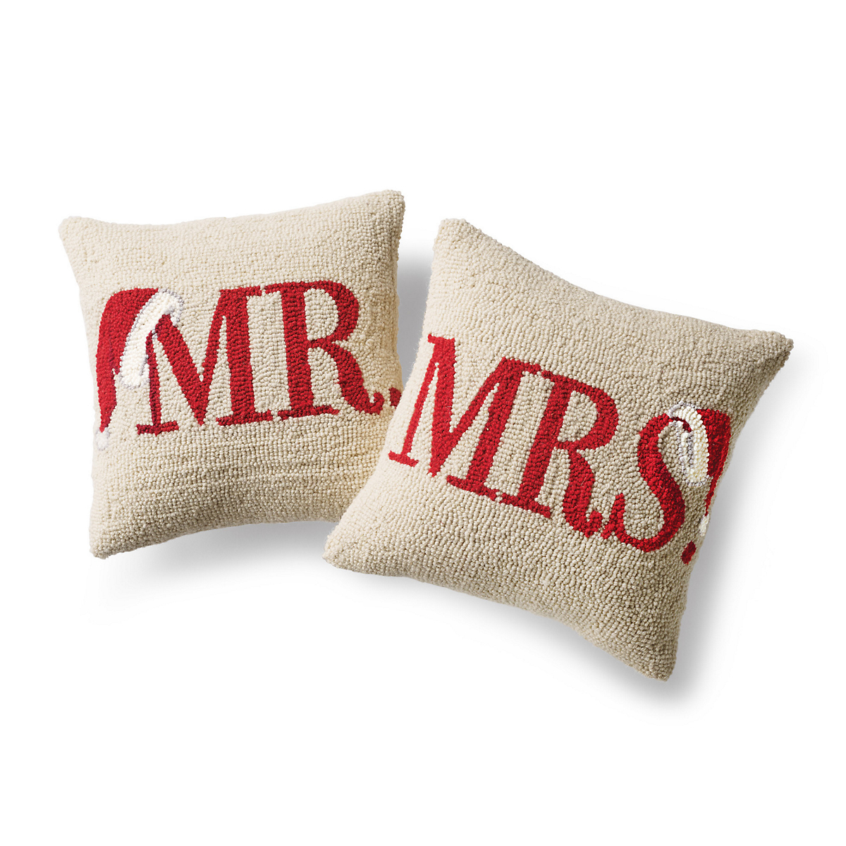 Mr & Mrs Hand-Hooked Pillows
