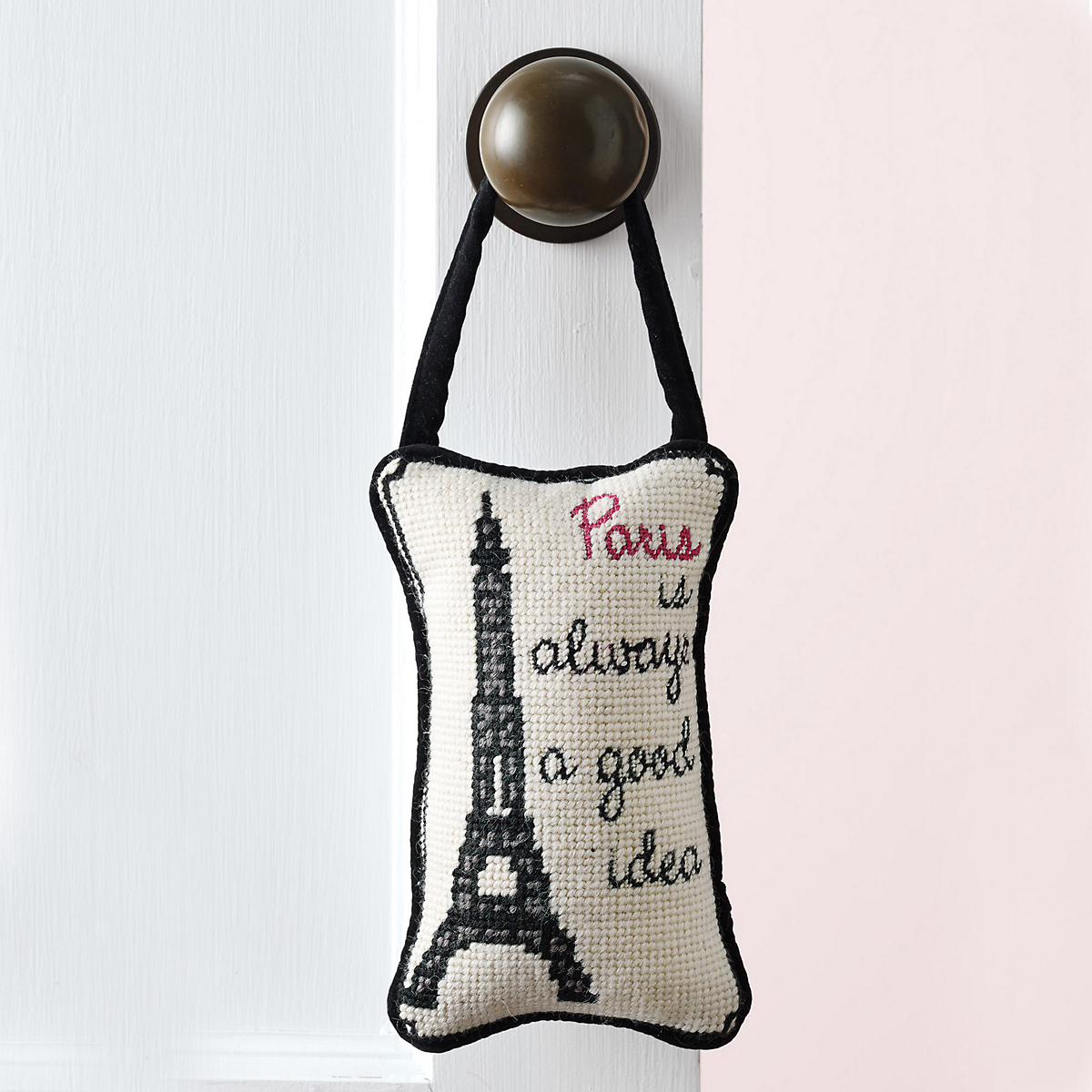 Paris Is ... Needlepoint Door Hanger
