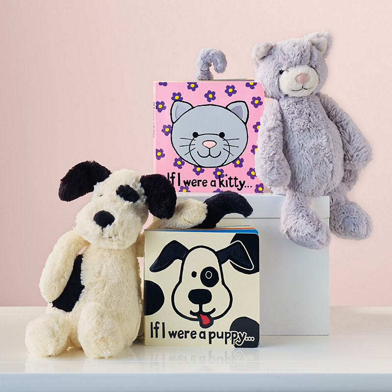 Plush Bashful Puppy, Kitty & Book Set