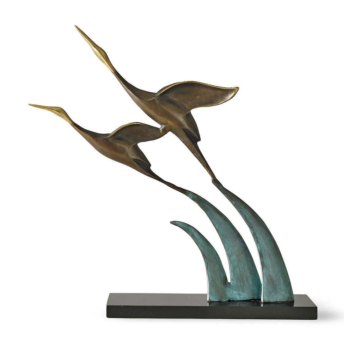 Cranes In Flight With Marble Base
