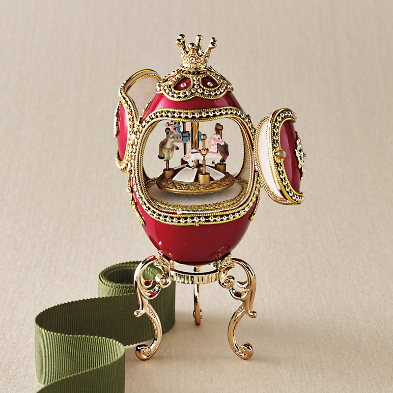 Red Carousel Musical Egg Box