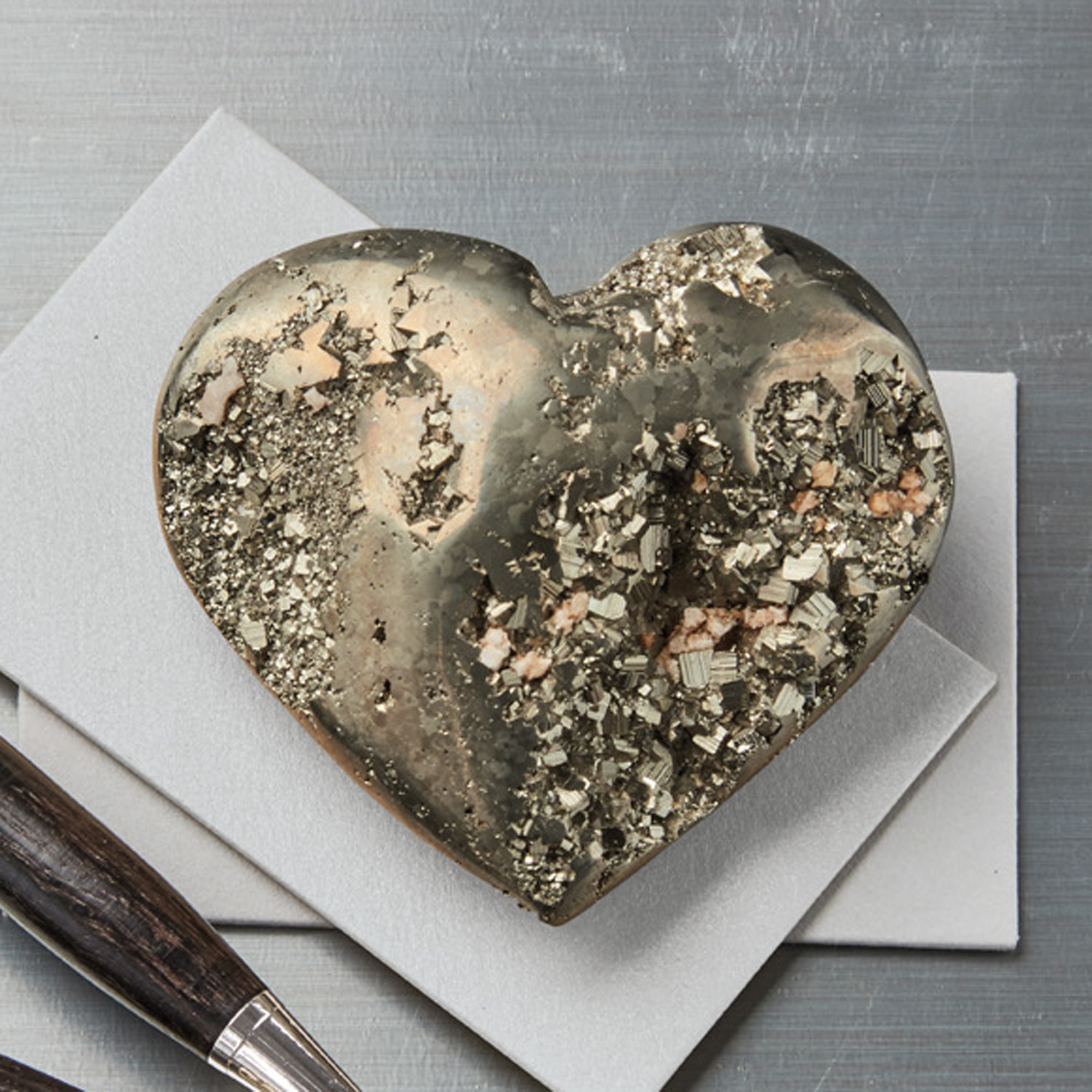 Pyrite Heart Paperweight