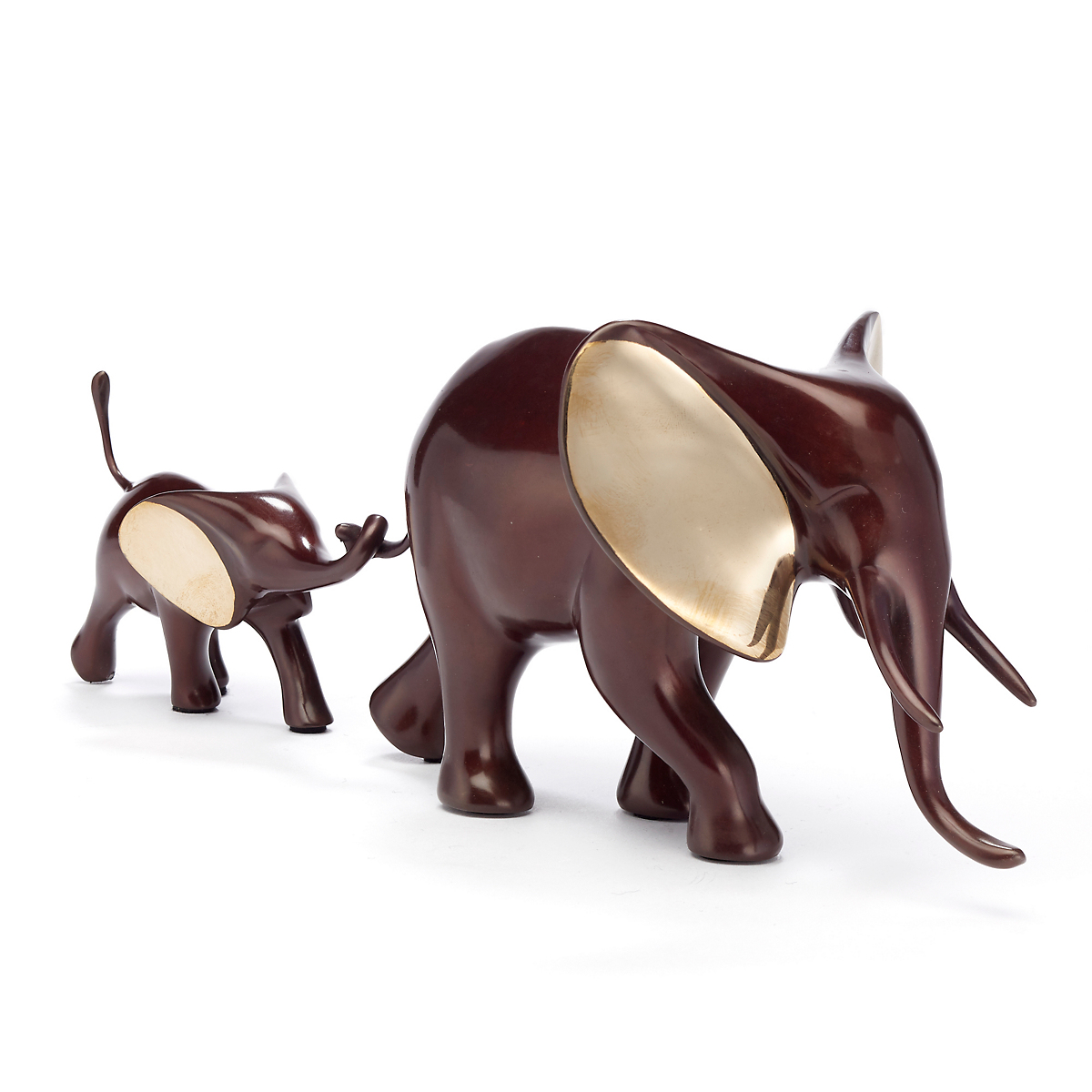 Loet Vanderveen Legacy Edition Marching Elephant & Baby In Burgundy