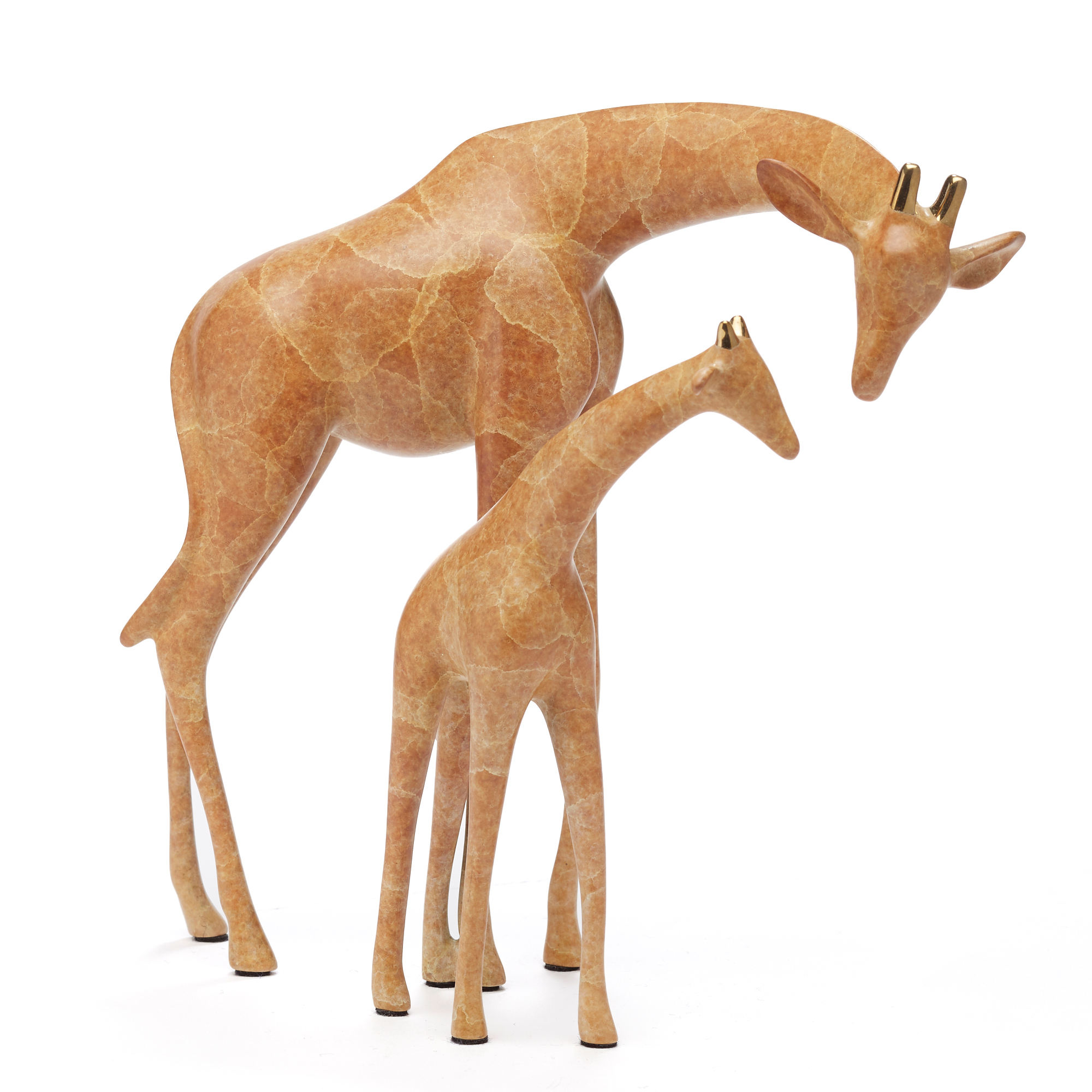 Loet Vanderveen Legacy Edition Pair Of Giraffes In Caramel