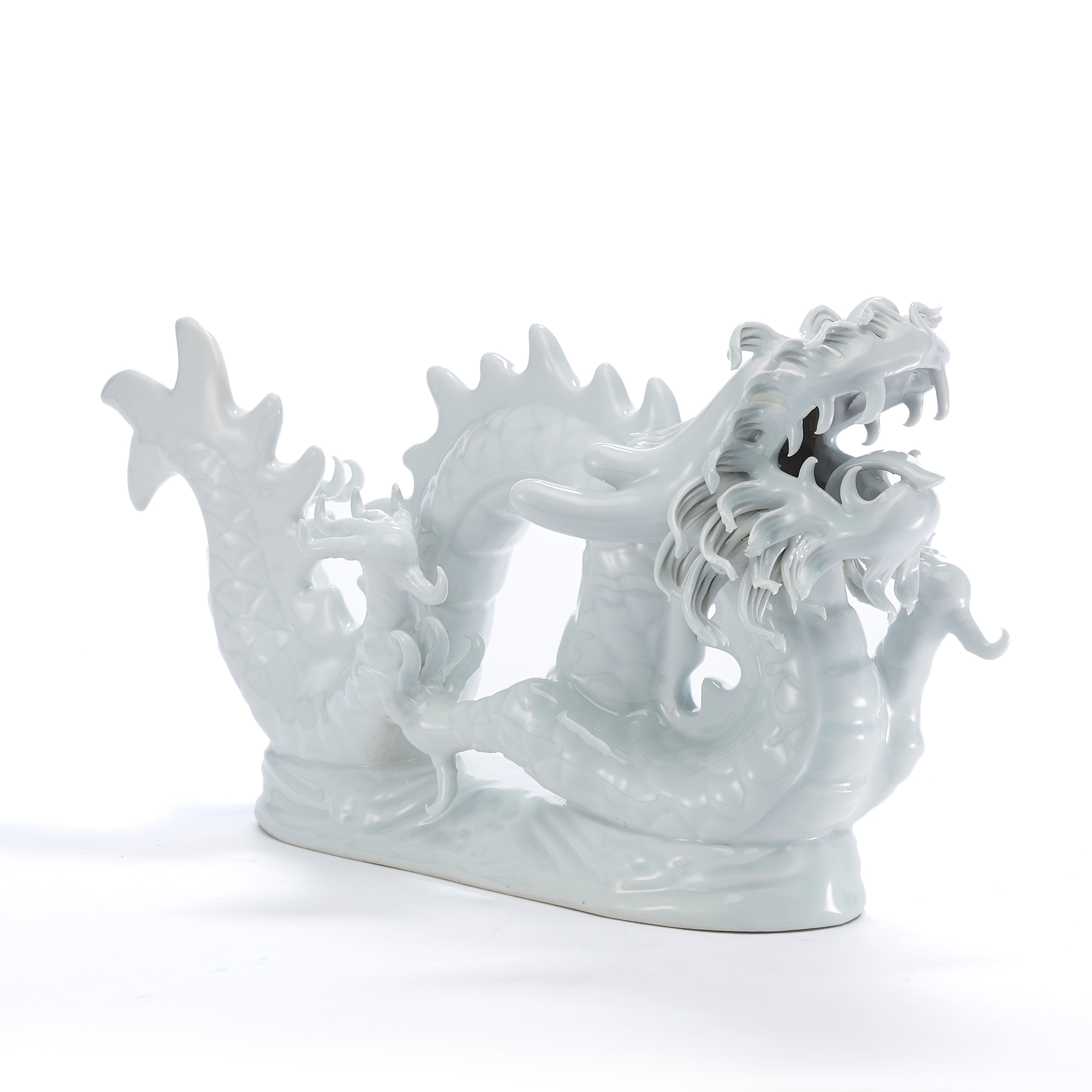 Antiqued White Porcelain Dragon Figure