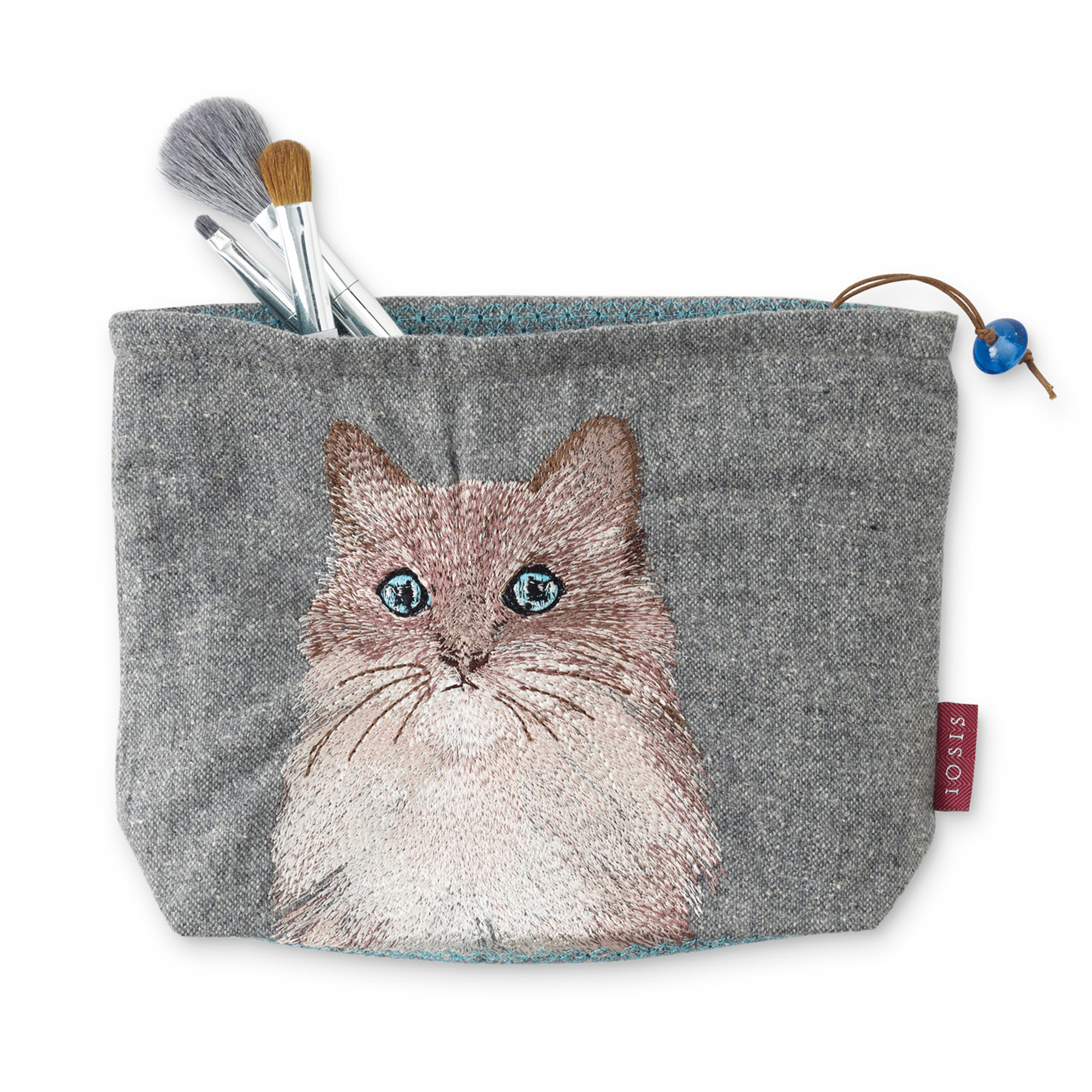 Cat Embroidered Makeup Bag