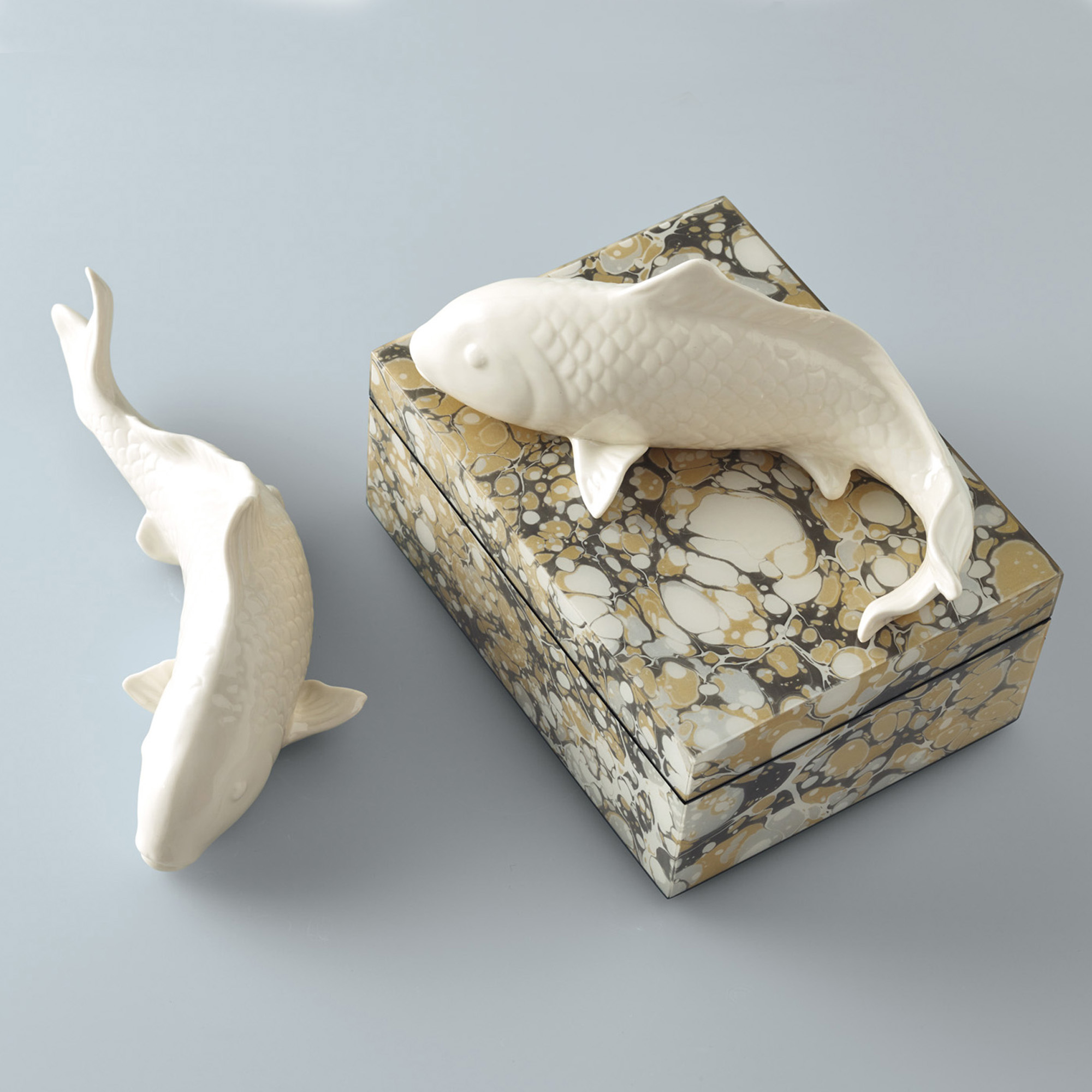 White Koi Figures, Set Of 2