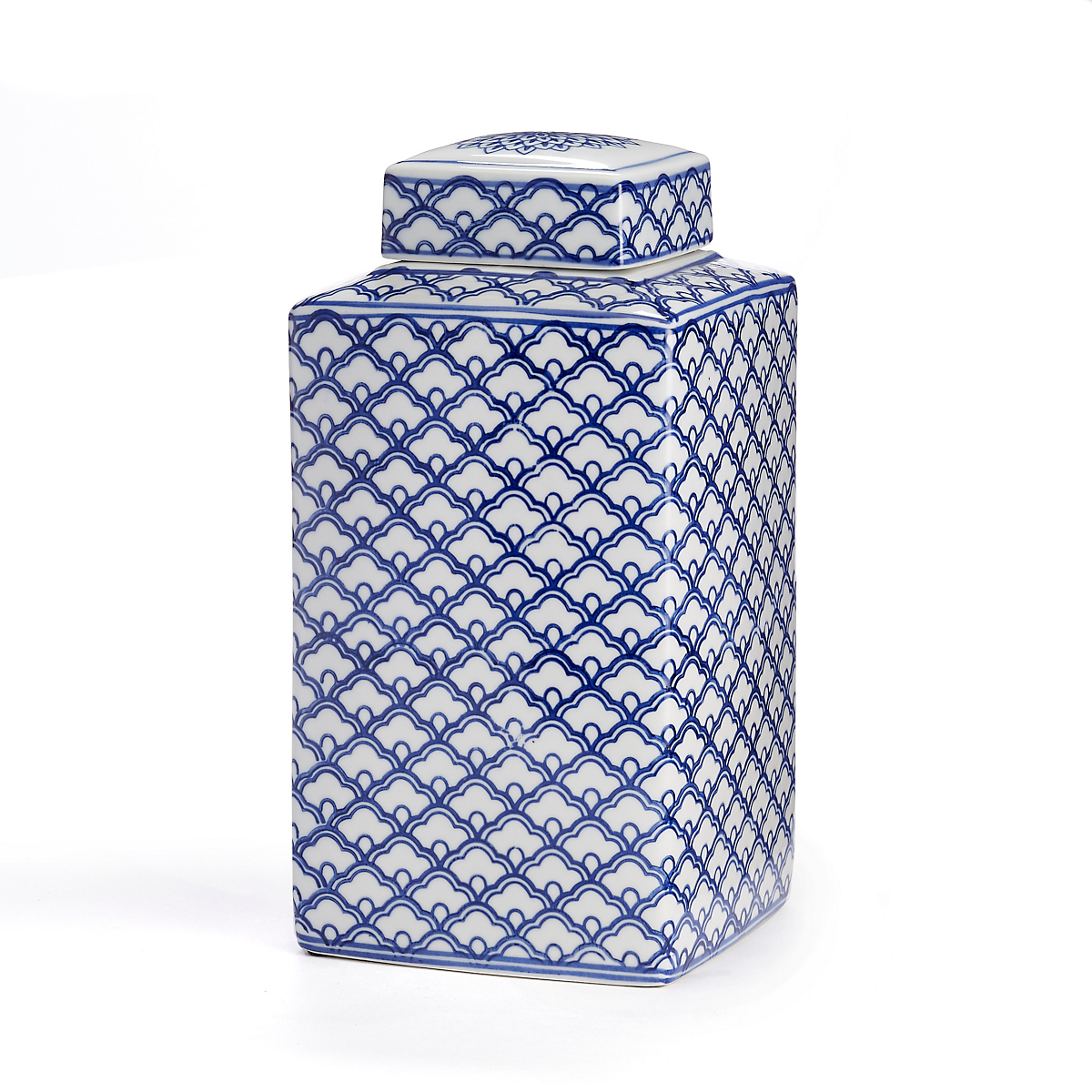 Blue & White Tea Jar, Quatrefoil Ginger Jar