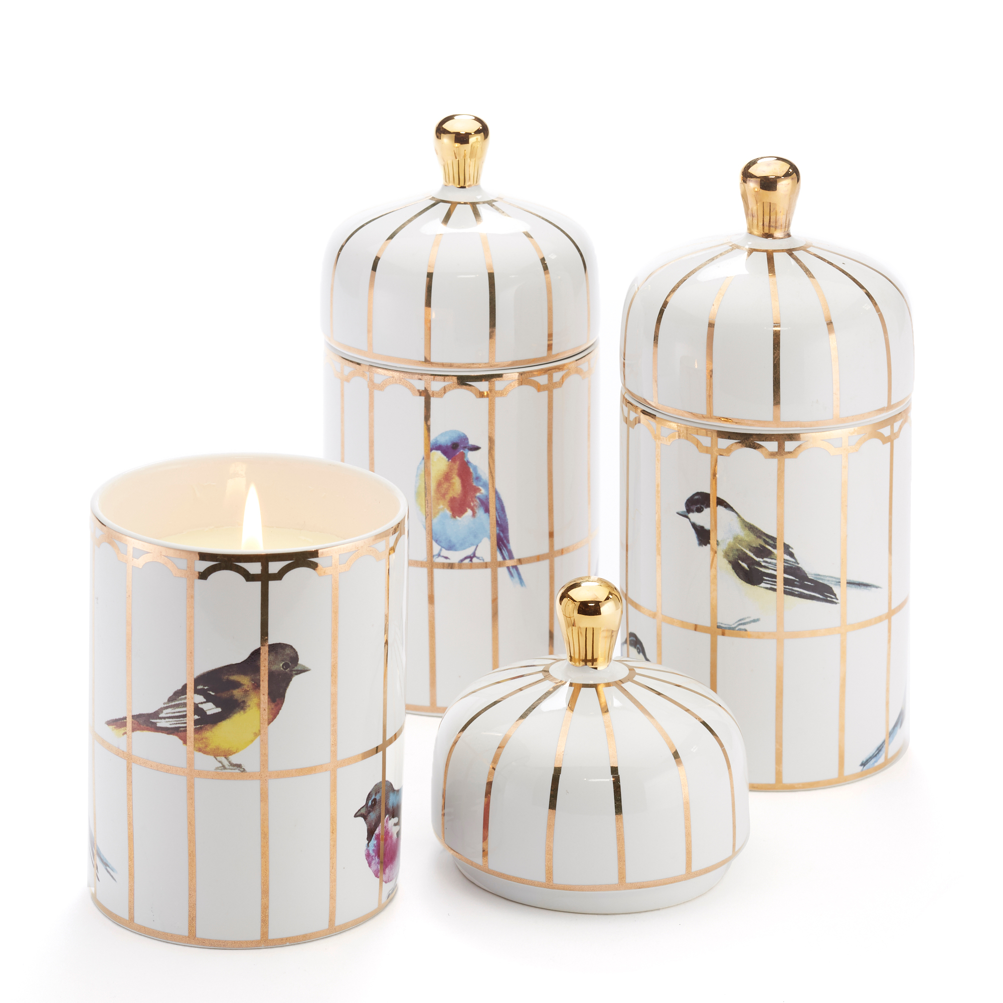Birdcage Candles, Set Of 3