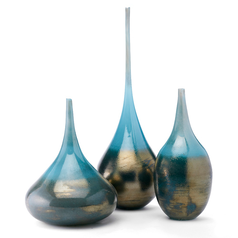Turquoise & Gold Teardrop Vases, Set Of 3