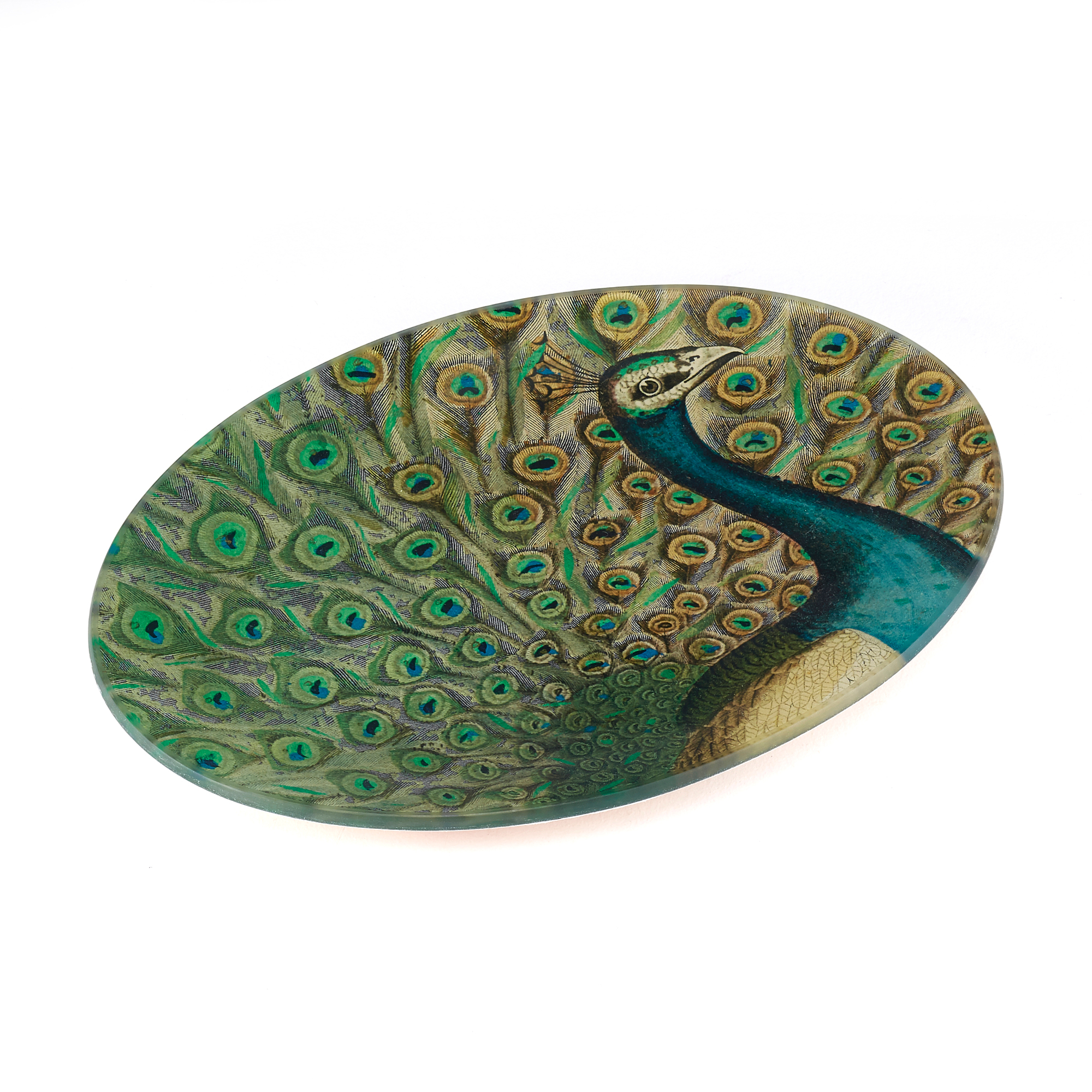 John Derian Flourish Oval Peacock Tray