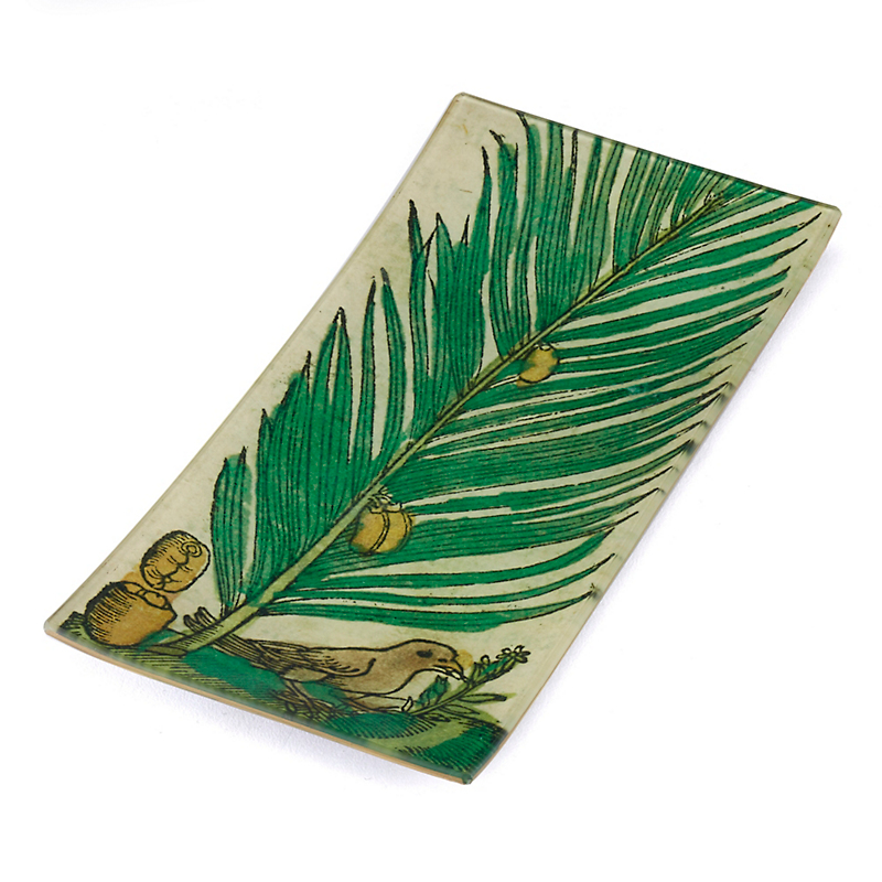 John Derian Palm & Bird Peacock Tray