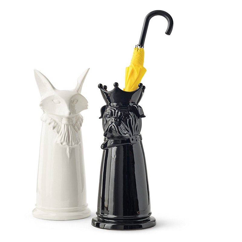 Regal Ceramic Umbrella Stands, Black Bulldog