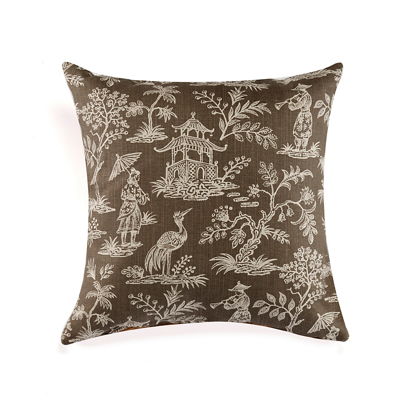 Taupe & White Chinoiserie Pillow