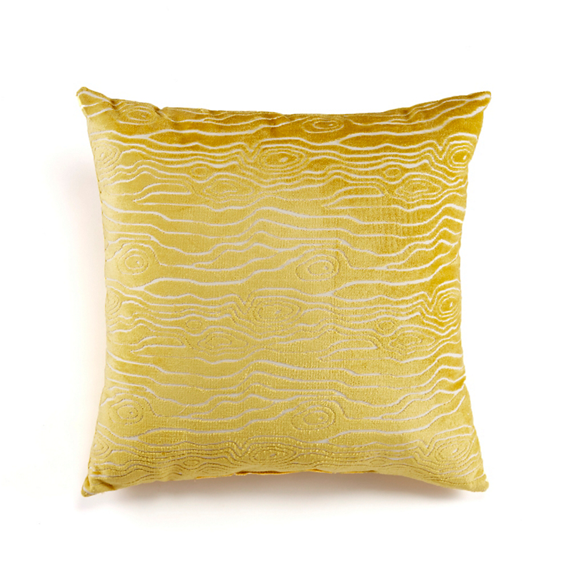 Citron Faux Bois Velvet Pillow