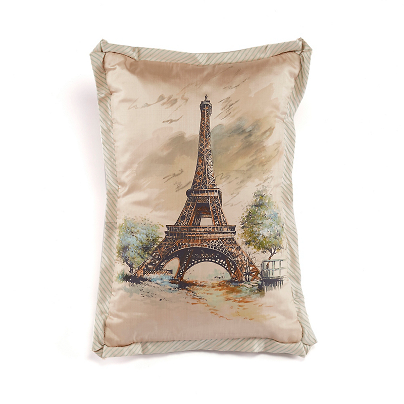 Eiffel Tower Handpainted Pillow