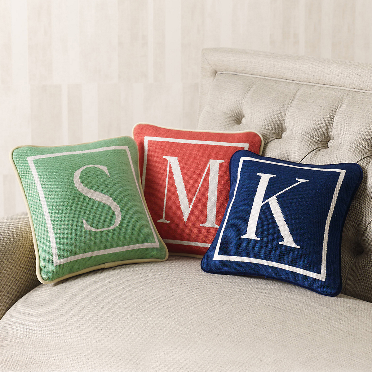 Needlepoint Initial Pillow