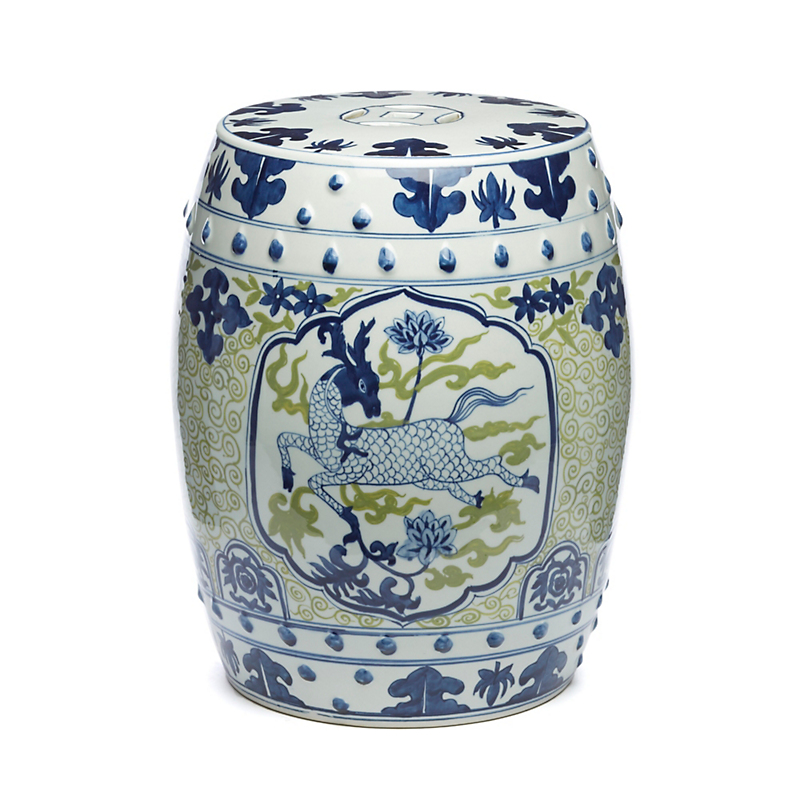 Blue And Green Deer Dynasty Garden Stool