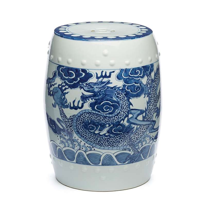Blue And White Dragon Dynasty Garden Stool