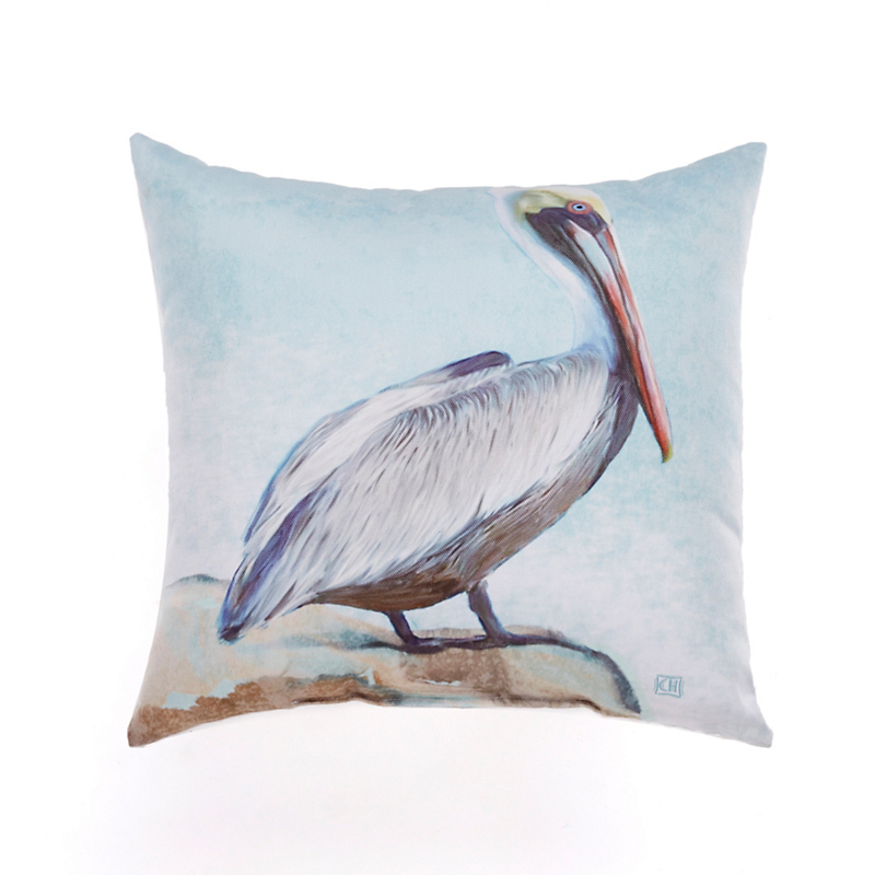 Seashore Outdoor Pillow, Pelican