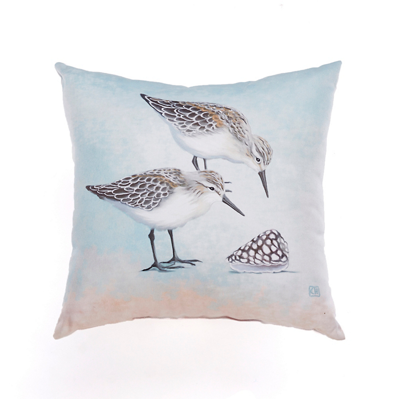 Seashore Outdoor Pillows, Sandpiper