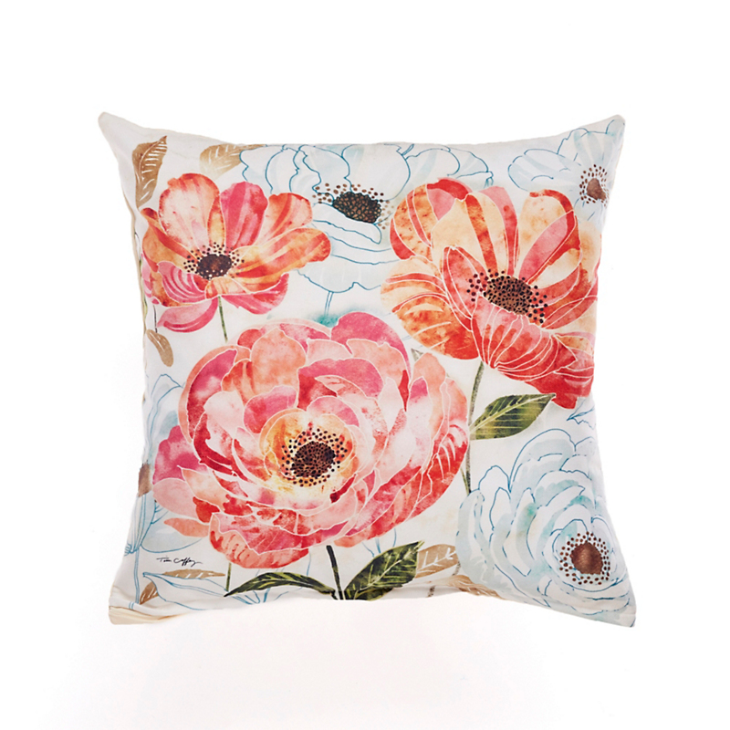 Perennial Garden Outdoor Pillow, Red Poppy