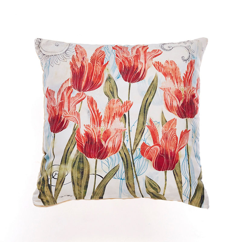 Perennial Garden Outdoor Pillow, Red Tulips