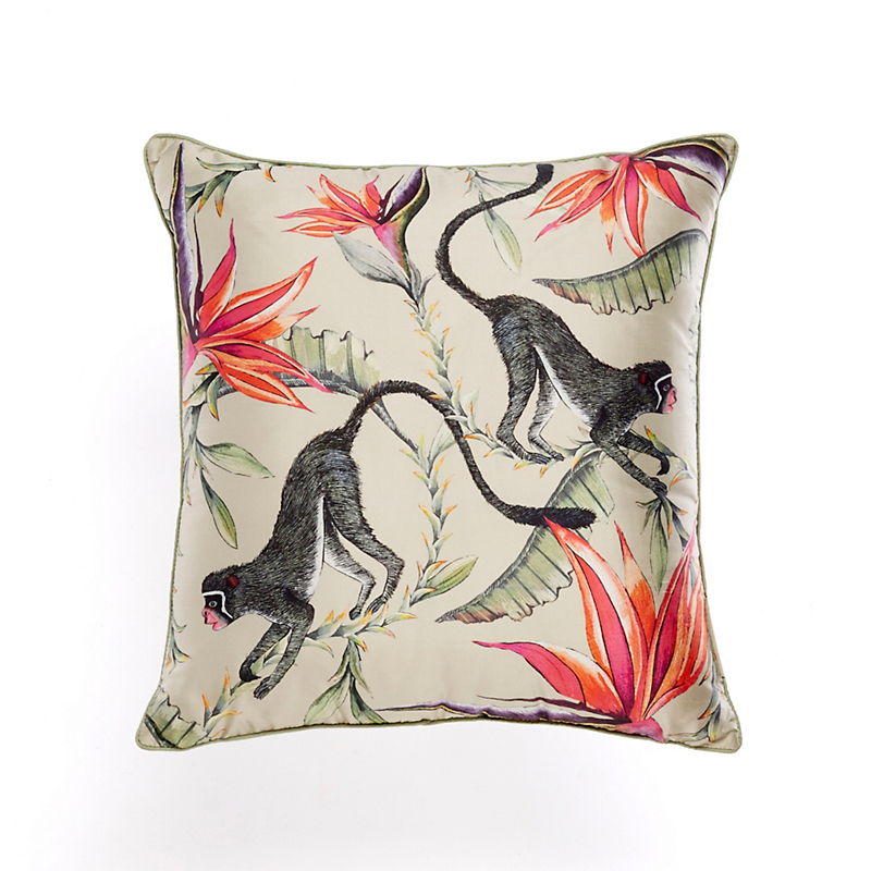 Wild Animal Silk Pillow, Monkeys