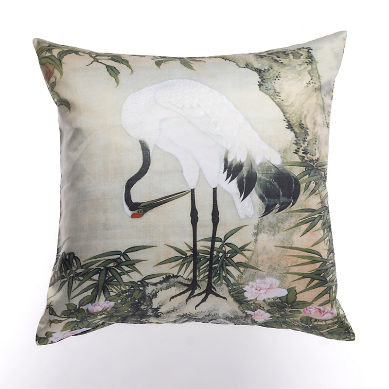 Crane Looking Down Pillow