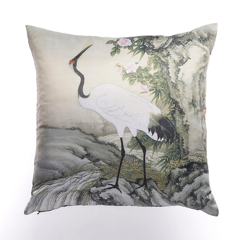 Crane Looking Up Pillow