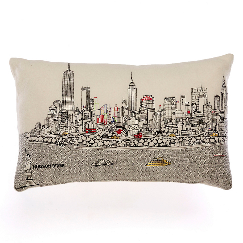 City Skyline Small Pillow, New York