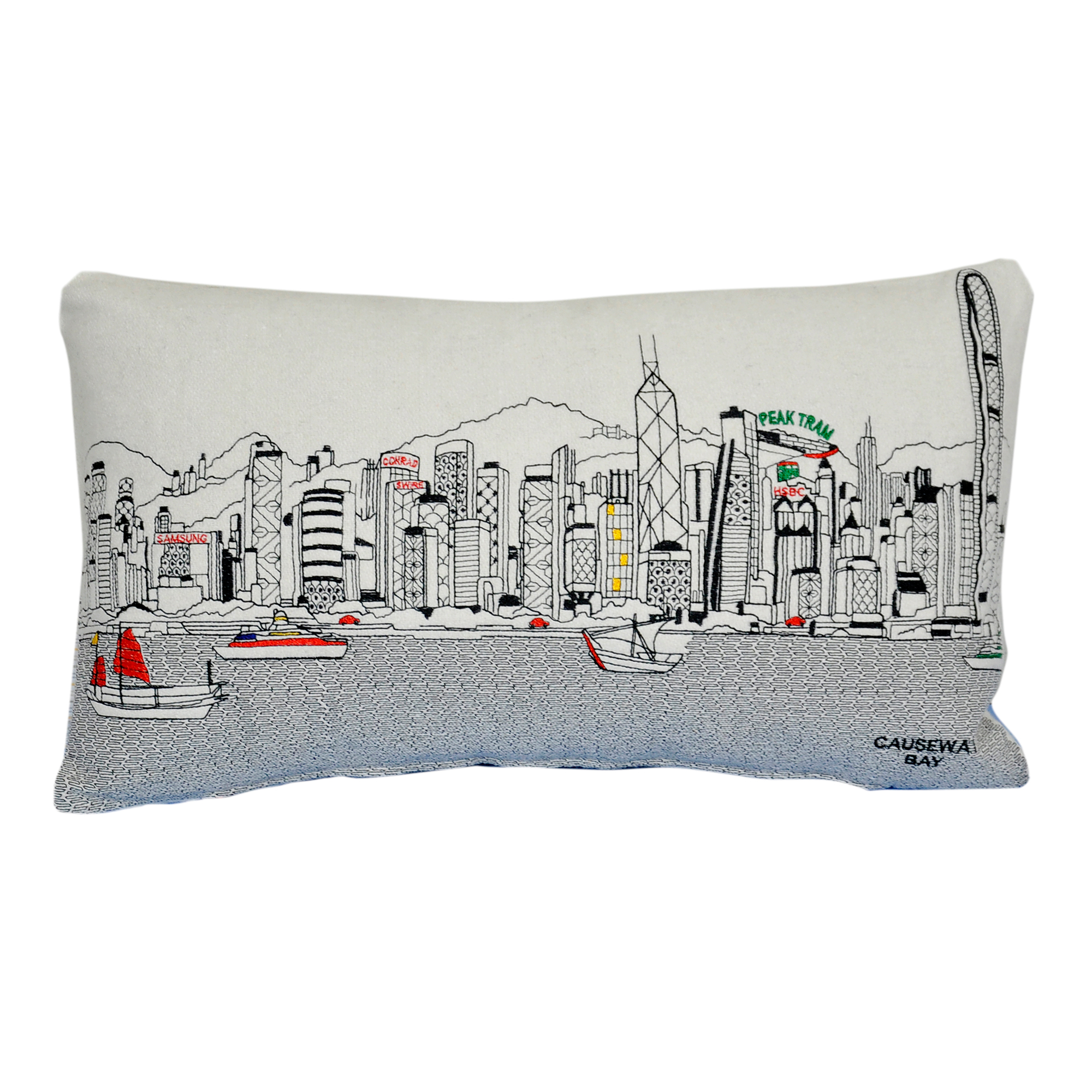 City Skyline Small Pillow, Hong Kong