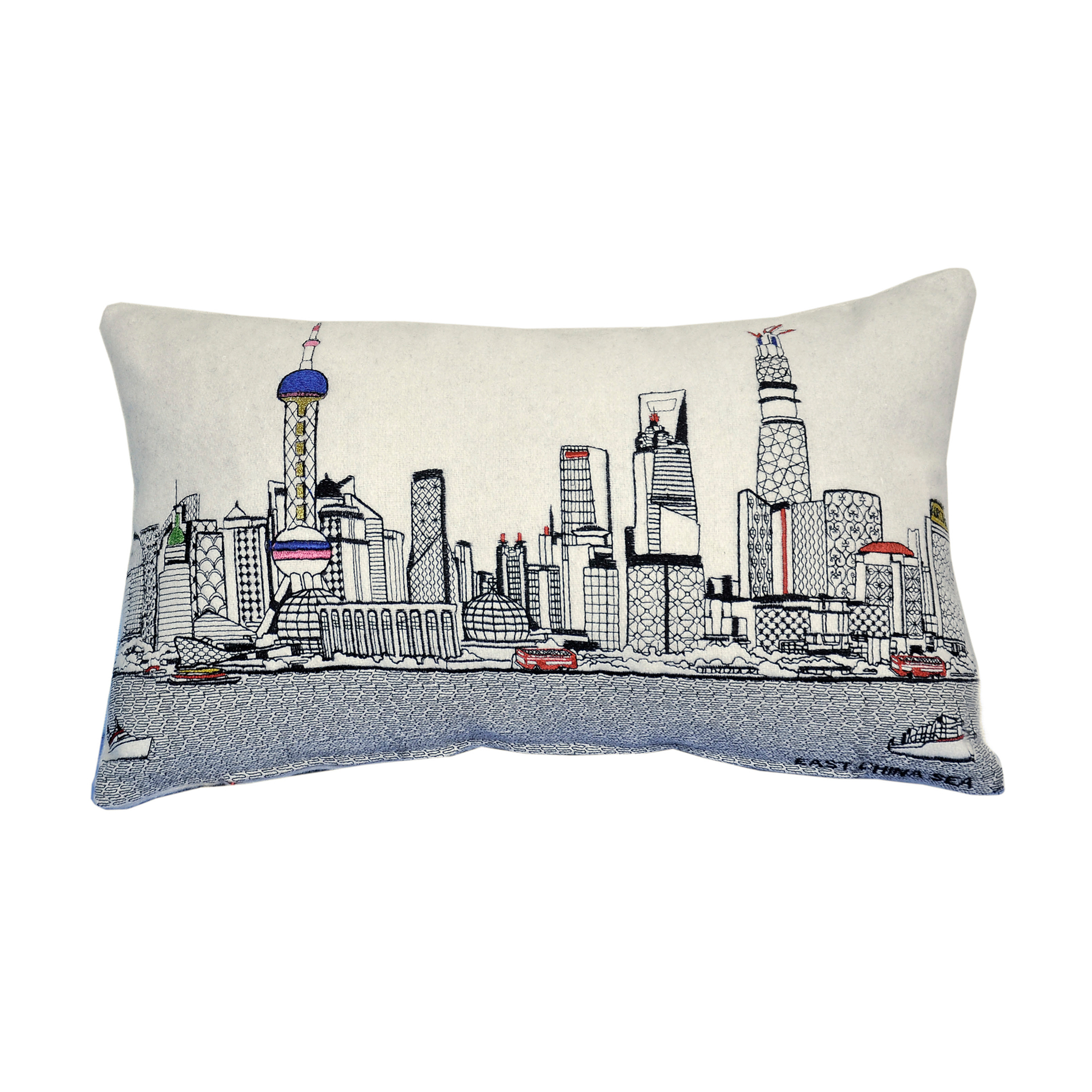 City Skyline Small Pillow, Shanghai