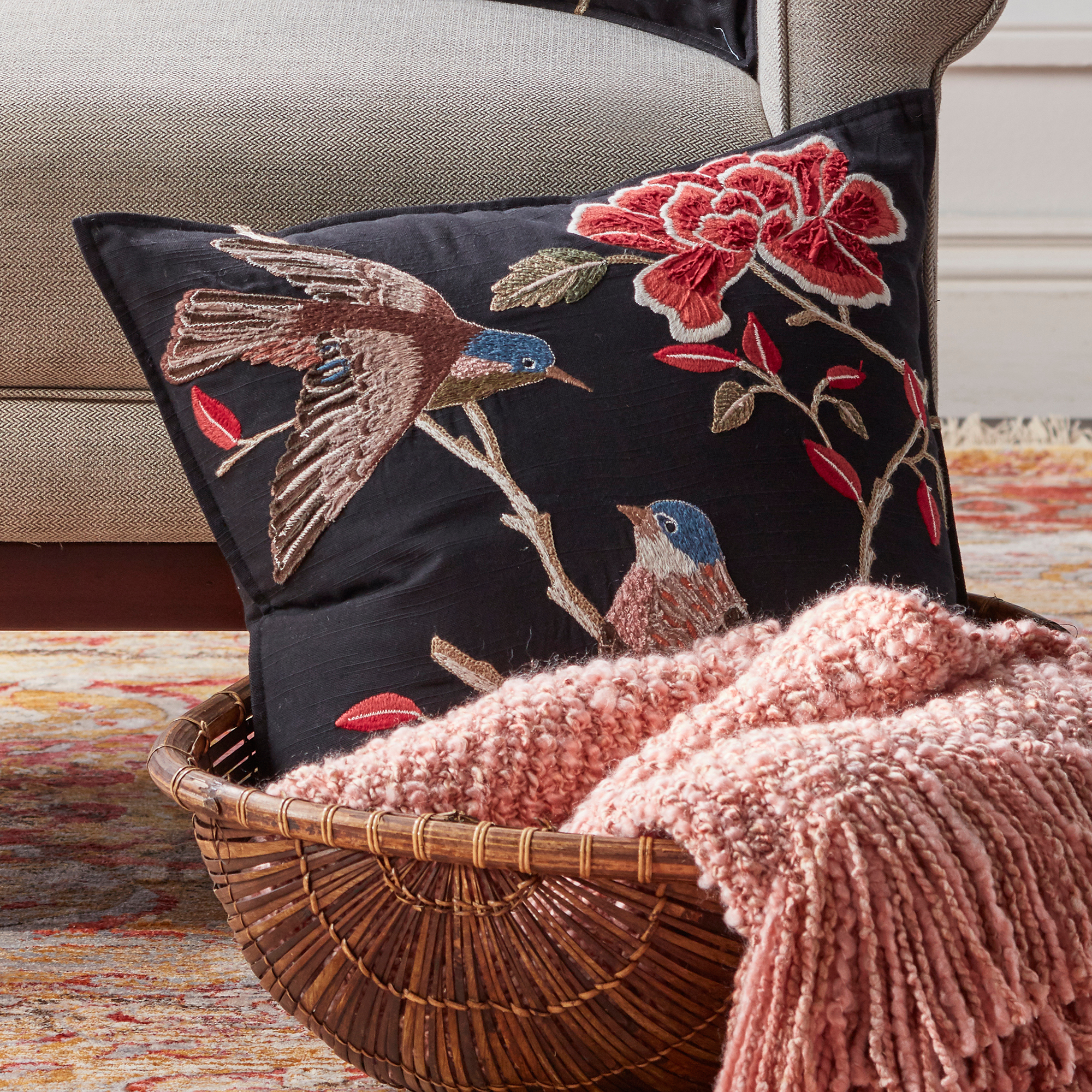 Songbirds & Peonies Pillow, Square