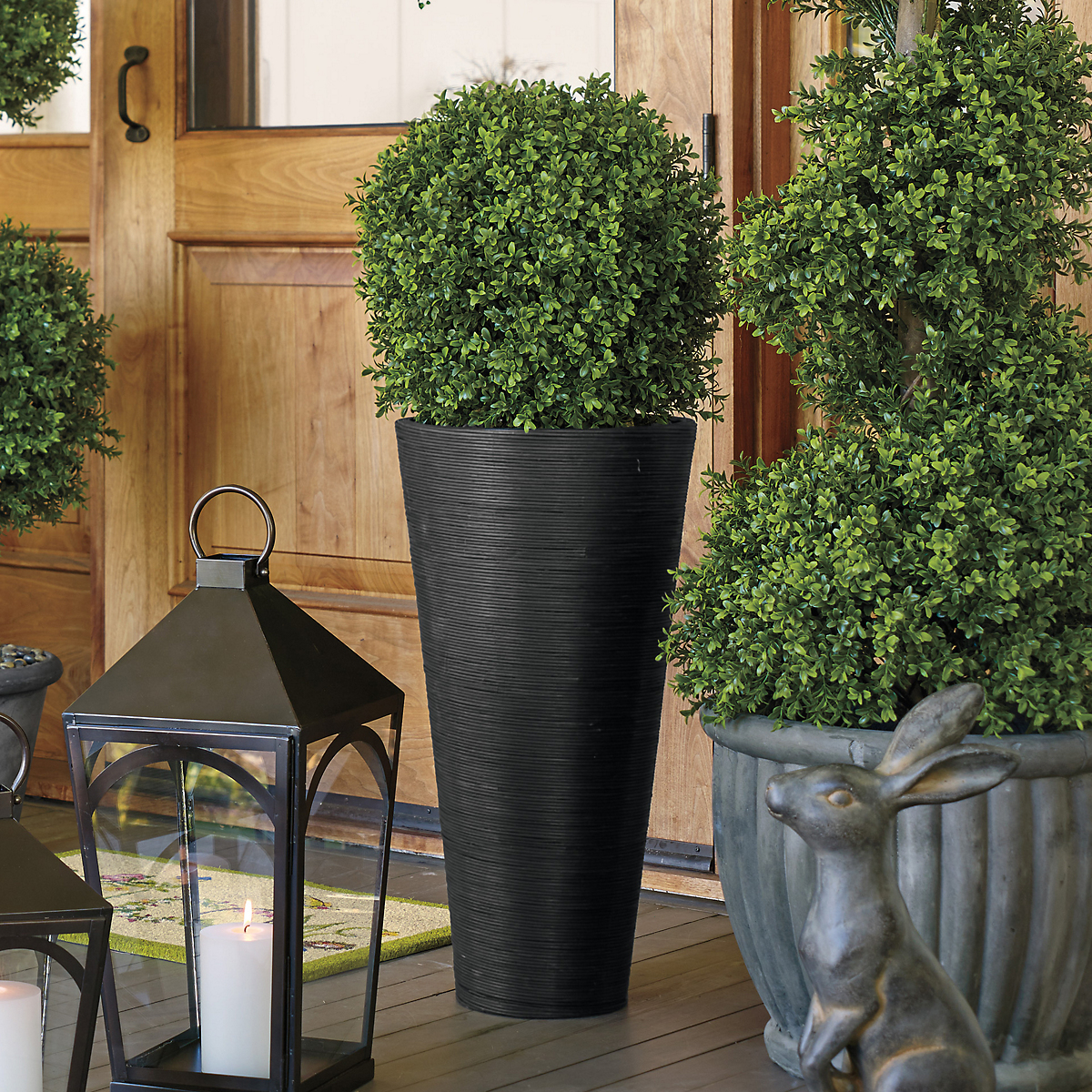 Tall Single Ball Windsor Faux Boxwood Topiaries