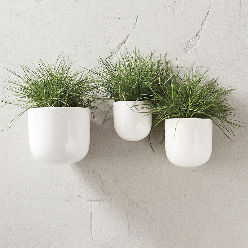 White Hanging Pots, Set of 3