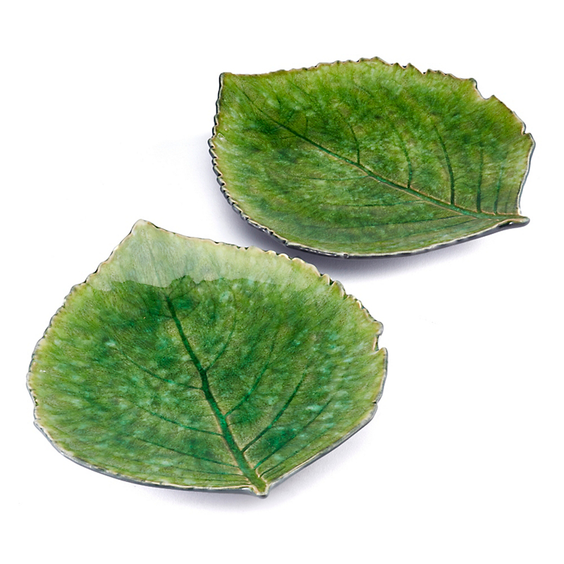 Hydrangea Leaf Appetizer Plates, Set Of 2