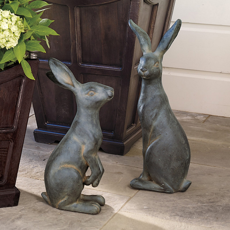 Big-Eared Bunnies Outdoor Figure, Set Of 2