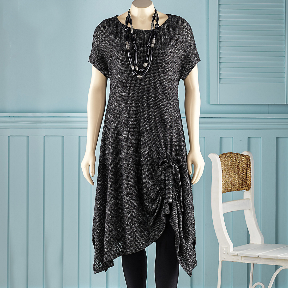 Gathered Hem Knit Dress