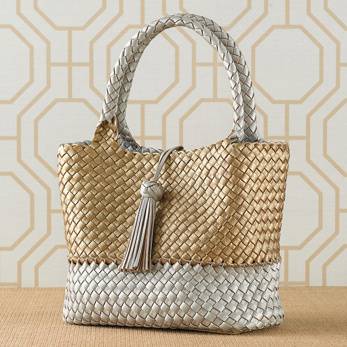 Reversible Metallic Woven Shopper, Silver