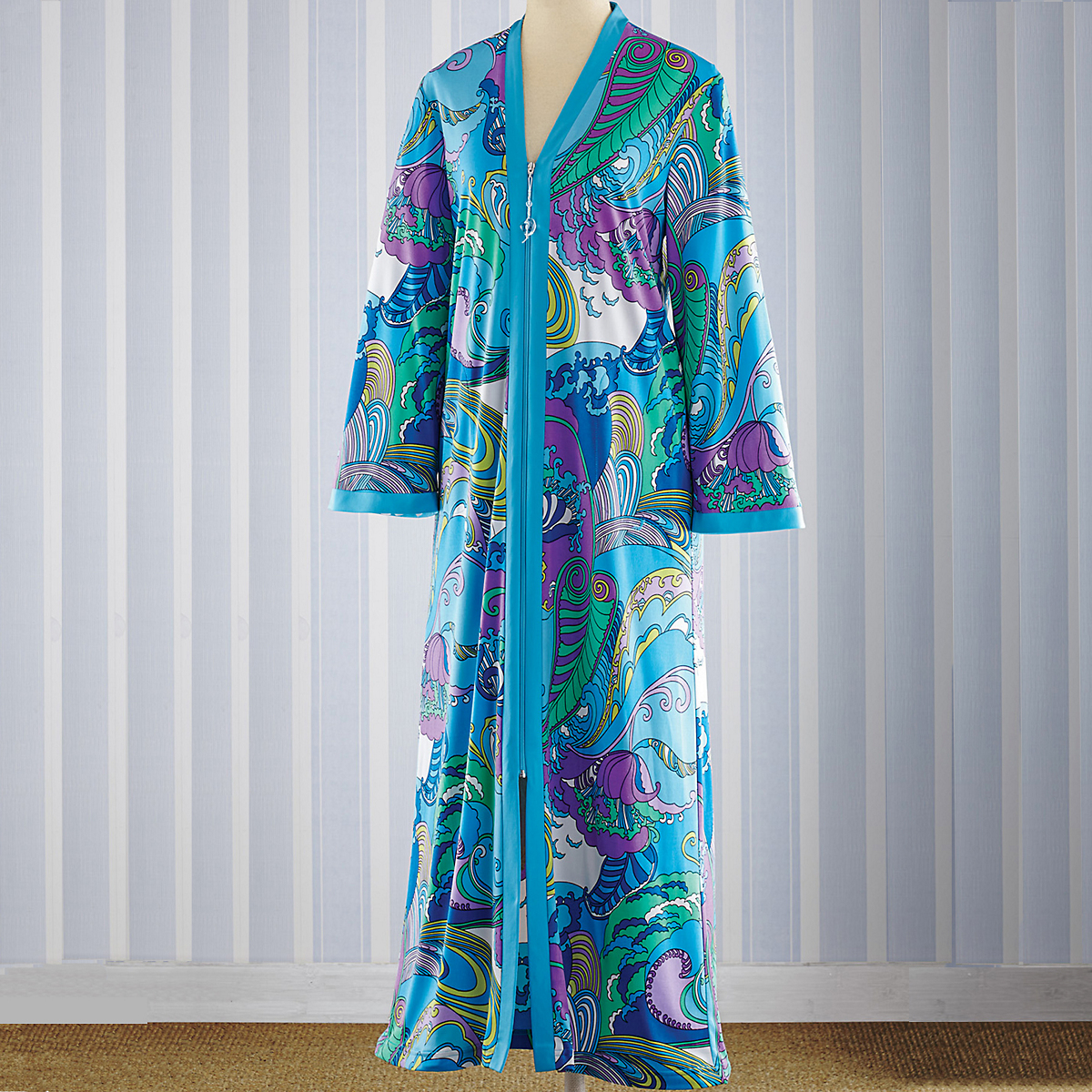Seaside Swirl Zip-Front Caftan