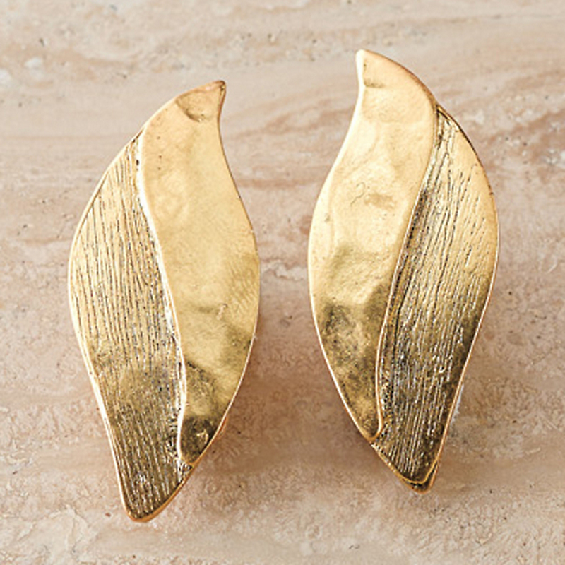Gold Plated Leaf Earrings, Clip